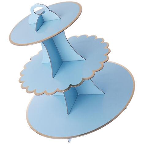 Carton de cupcake de support de gâteau à 3 niveaux, décoration de fête de mariage d'anniversaire d'enfants, bleu