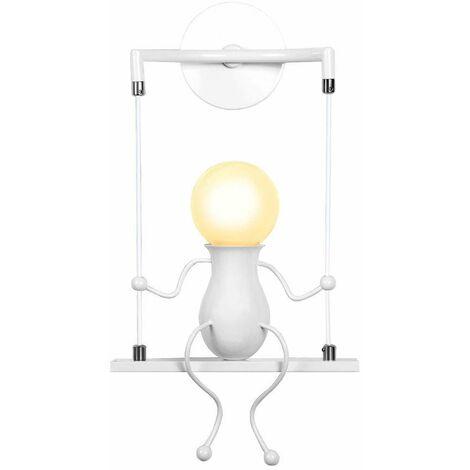 Cartoon Human Shape Creative Wall Light Swing Decor Ceiling Lamp Modern Metal Wall Lamp for Living Room Bedroom Children Room White