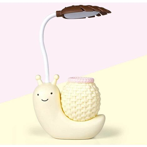 Cartoon Snail LED Table Lamp USB Eye Care Table Lamps with Pen Holder Cute Pen Container Night Lamp USB for Home Night (Yellow)