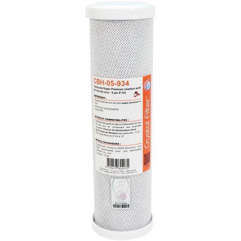 "Cartouche CBH-05-934 Super Premium charbon actif 9""3/4 - 5 µm - Crystal Filter®"
