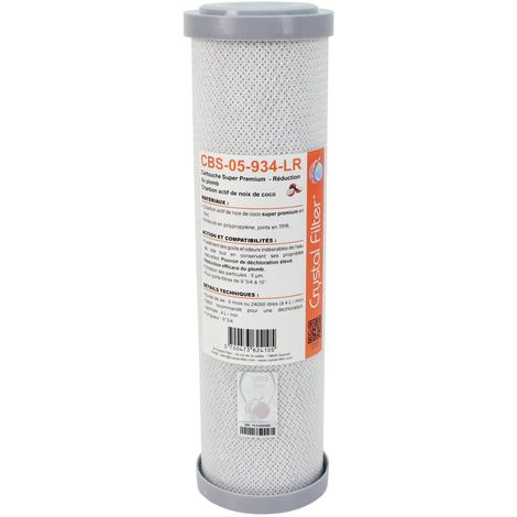 "Cartouche Crystal Filter® CBS-05-934-LR 9""3/4 Super Premium charbon actif - 5 µm"
