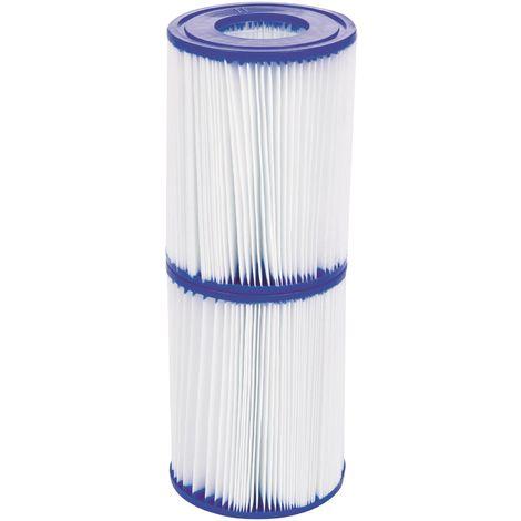Cartouche de filtration piscine Type (II) Bestway - Diamètre 10,6 cm - Hauteur 13,6 cm - Vendu par 2 - Bleu et blanc