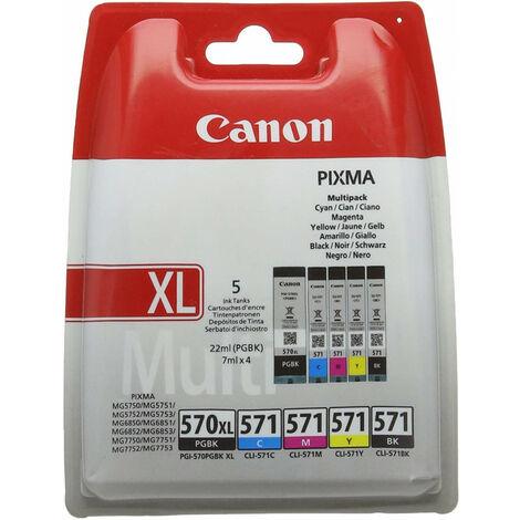 Cartouche d'encre originale PGI-570XL/CLI-571/PGBK, Noir, Cyan, Magenta, Jaune & Noir XL, pour Canon Pixma MG575x, MG685x, MG775x - 5 cartouches (0318C004)