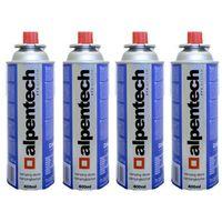 Cartouche gaz camping 4x227g Alpentech butane UN2037 pour Désherbeurs Réchauds et Lampes camping