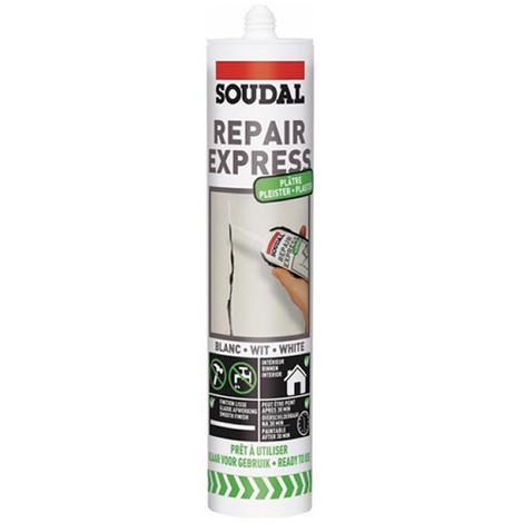 Cartouche mastic spéciale Plâtre 300 ML repair express blanc - 122525 - Soudal - Blanc -