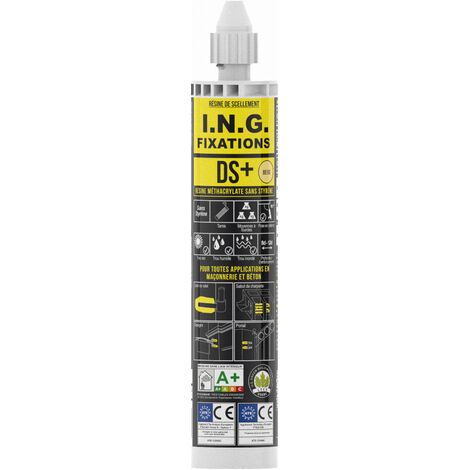 Cartouche résine scellement méthacrylate DS+ ING FIXATIONS - 300 ml - Beige - A050142