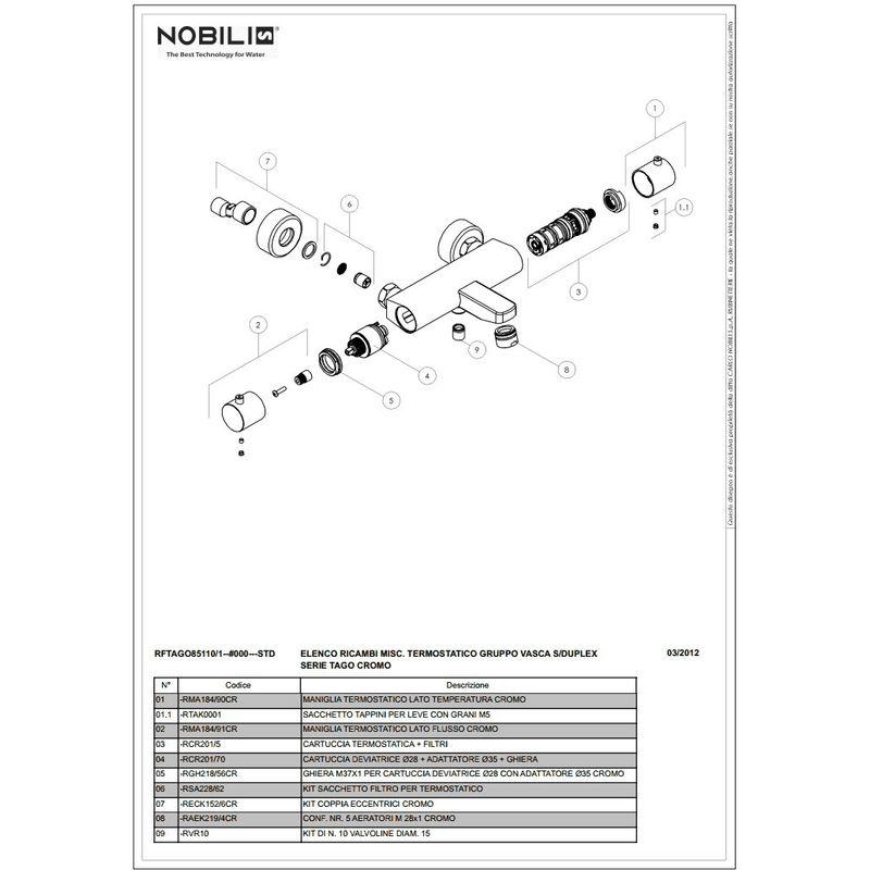 RCR201//56 Cartouche thermostatique remplacement Nobili