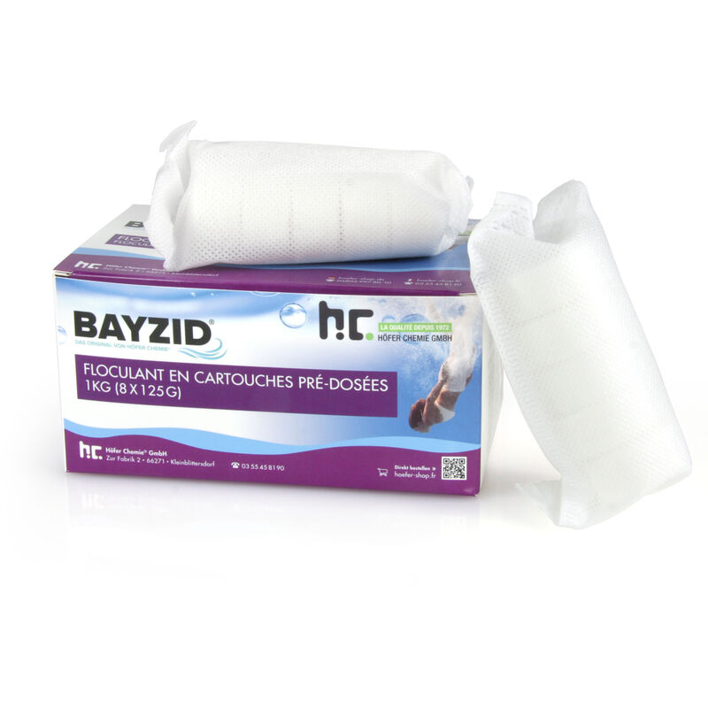 8 x 1 kg BAYZID Cartouches de floculant pré-dosées (8x 125g)
