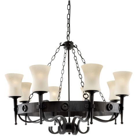 CARTWHEEL 8 LIGHT WROUGHT IRON FITTING WITH GLASS