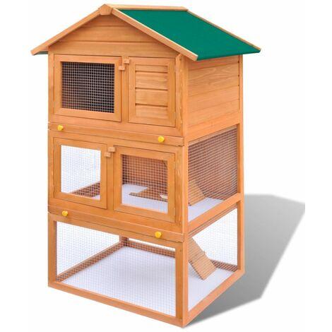 Casa de animales pequenos jaula conejera 3 niveles madera