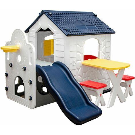 Casa de Juegos con Tobogán para Niños 1 Año Cabaña Exterior Interior