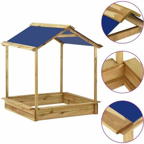 Casa de juegos de jardín con arenero madera pino 128x120x145 cm - Marrón