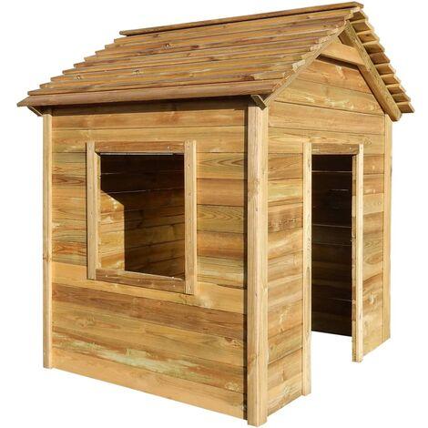 Casa de juegos de jardín de madera de pino 123x120x146 cm