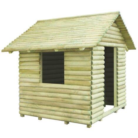 Casa de juegos de madera de pino impregnada 167x150x151 cm - Marrón