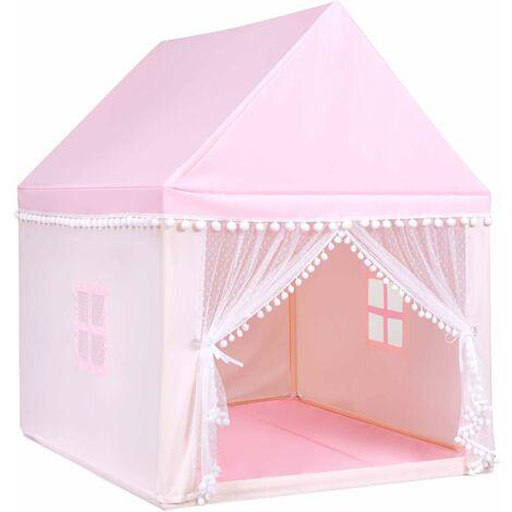 Casa de Juegos para Niños Tienda de Campaña para Niños Casita Infantil con Marco de Madera,Manta de Algodón y Techo Castillo Juguete para Niños 120x105x140 centímetros Rosa