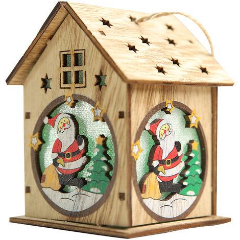 Casa de madera luminosa de Navidad, con LED de colores,Techo de un piso