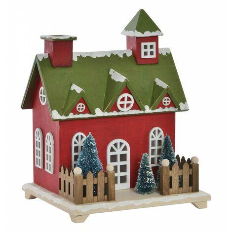 Casa de Madera Navidad con Luces LED, Decoración Navideña. Diseño Original (18,5x16x24cm) - Hogar y Más