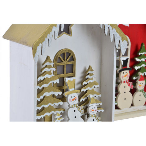 Casa de Madera Navidad con Luces LED, Decoración Navideña. Diseño Original, 2 Modelos a elegir (17x9,5x28cm) - Hogar y Más Dorado