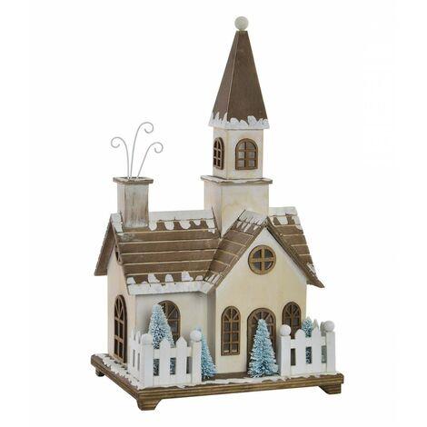 Casa de Madera Navidad con Luces LED, Decoración Navideña. Diseño Original (21x17x38,5cm) - Hogar y Más