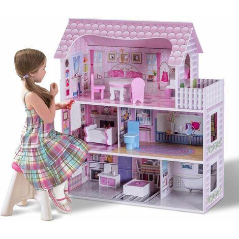 Casa de Muñecas de Madera para Niña Miniatura 3 Pisos Rol Educativo con Accesorios
