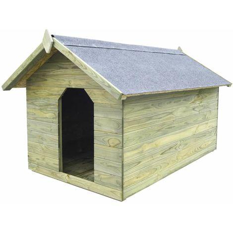 Casa de perros jardin tejado abierto madera pino impregnada FSC