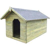 Casa de perros jardín tejado abierto madera pino impregnada FSC