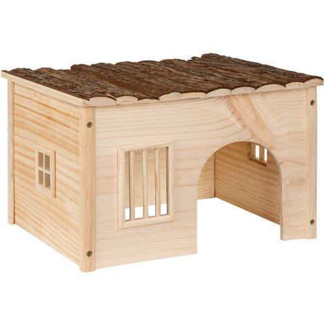 Casa de roedores - casa para hámster de madera, caseta para ratones decorativa ligera, casita para roedores estable - M (41 x 26 x 34,5 cm) - marrón