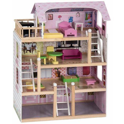 Casa delle Bambole in Legno, Giocattolo dei Bambini con Accessori, 81 x 60,5 x 29,5 cm