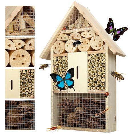 Casa insectos caja nido madera XXL incubadora refugio abejas hábitat anidación
