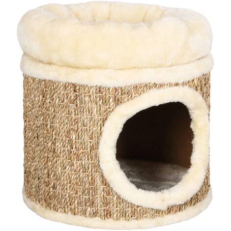Casa para gatos con cojín de lujo hierba marina 33 cm