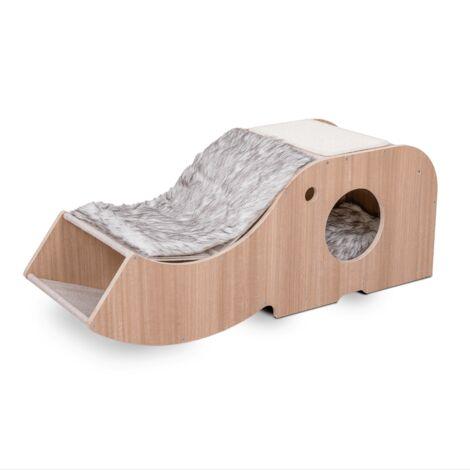 Casa para gatos con rascador, diseño moderno, mueble para gato, casita para gato de madera, rascador para gato, cama para mascotas, cueva gatos, caseta de madera para gatos con cojin extraible