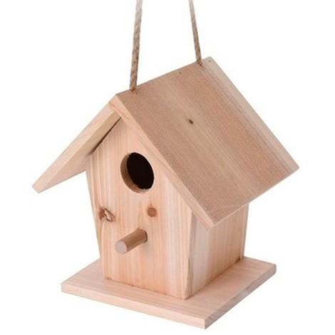 Casa para pájaro de madera crudo