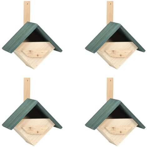 Casa para pajaros 4 unidades madera de abeto 24x16x30 cm
