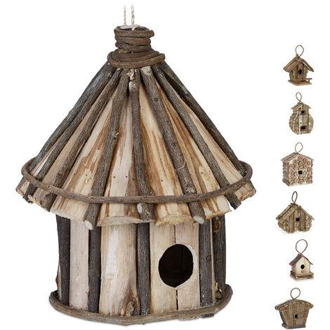 Casa para pájaros para colgar, Madera natural, Decoración de exterior, 25x20 cm, 1 Ud., Marrón