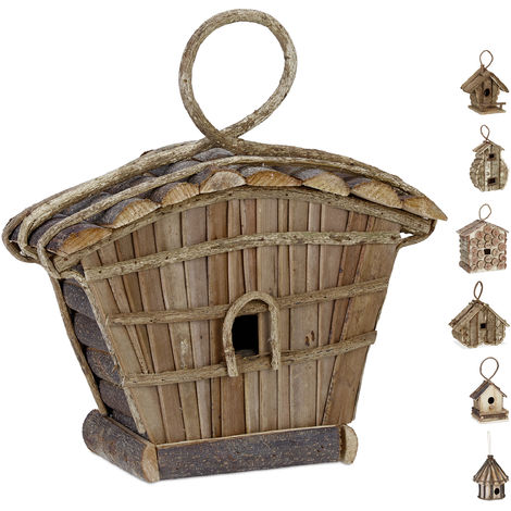 Casa para pájaros para colgar, Madera natural, Decoración de exterior, 29x27x11 cm, 1 Ud., Marrón