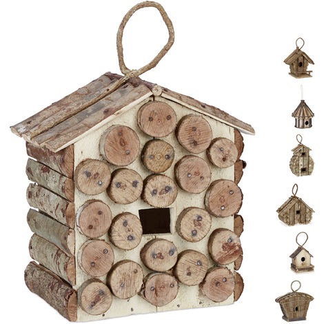 Casa para pájaros para colgar, Madera natural, Decoración de exterior, Nido, 34x23,5x16 cm,1 Ud., Marrón