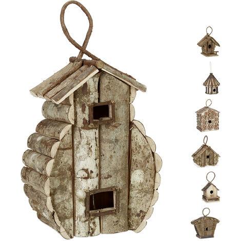 Casa para pájaros para colgar, Madera natural, Decoración de exterior, Nido, 39x21x14 cm, 1 Ud., Marrón