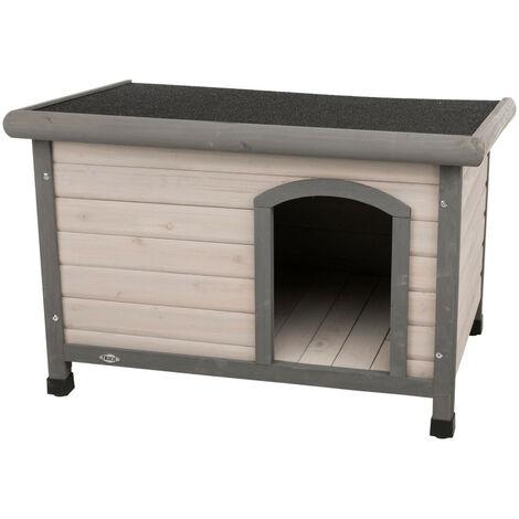 Casa para perros Tejado plano clásico. 85 x 58 x 60 cm . gris