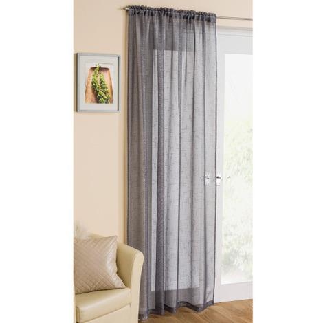 Casablanca Voile Panel Curtain in Grey 138cm x 229cm