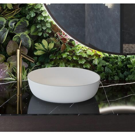 CasaDiVanna Aufsatzwaschbecken Bernini in matt weiß handgefertigt