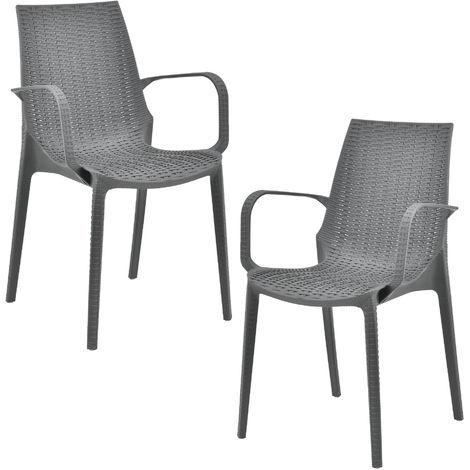 Sedie Da Esterno In Plastica.Casa Pro 2 X Sedie In Ottica Rattan Plastica Sedie Da Giardino