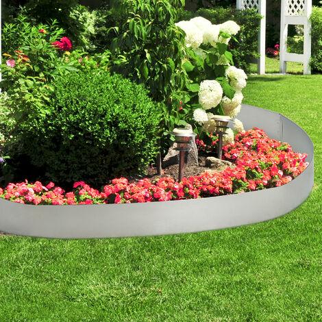 [casa.pro Borde limitador de jardn - Borduras de jardn - set de 5 piezas - color plata - acero galvanizado