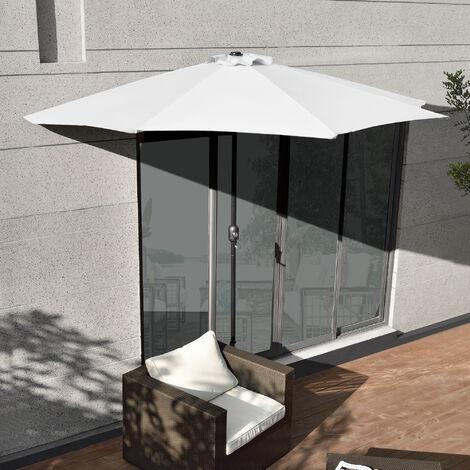 [casa.pro] demi-parasol (?300cm) (beige ou gris) parasol ? manivelle / parasol de march? / parasol de jardin / en demi-cercle