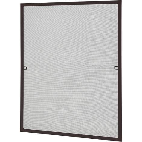 [casa.pro] Mosquitera con marco 80 x100 cm marrón - acortable - para ventana - protección contra insectos - no necesita atornillar ni agujerear