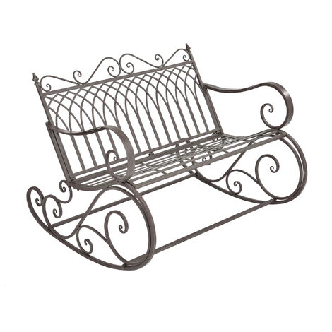 ® Panchina a dondolo panca da giardino metallo verde//grigio ferro casa.pro