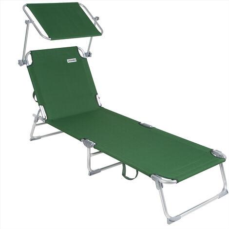 Casaria - 1x ou 2X Chaise Longue Pliable Ibiza - Dossier réglable 4 Positions - Pare-Soleil intégré - Compacte et transportable - Toile imperméable - Couleur au Choix