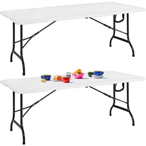 Casaria 2er Set Gartentisch klappbar mit Tragegriff 182x76 cm leicht Kunststoff Campingtisch Klapptisch Camping Buffettisch Campingmöbel Weiß