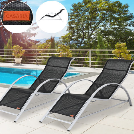 Casaria 2x Sun Lounger & Side Table Set Siena 190x62cm Aluminum Glass Garden Furniture Patio Pool Black