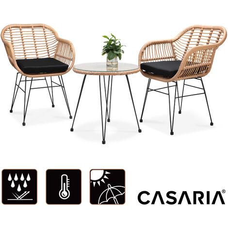 Casaria 3 pieces Balcony Lounge Set Patio »Bali« 2 Garden Chair Side Table