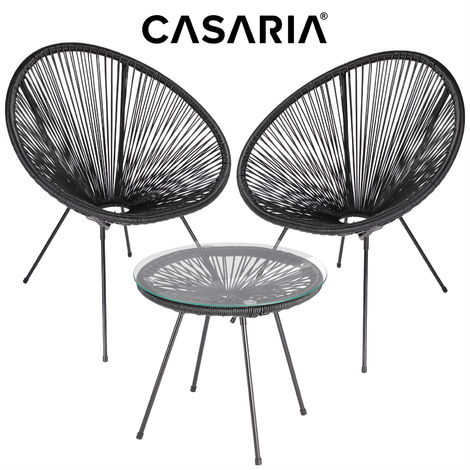 Casaria 3 pieces Table Chairs Lounge Set Patio Balcony Bistro »Acapulco« 2 Seats Side Table Retro Design Indoor Outdoor